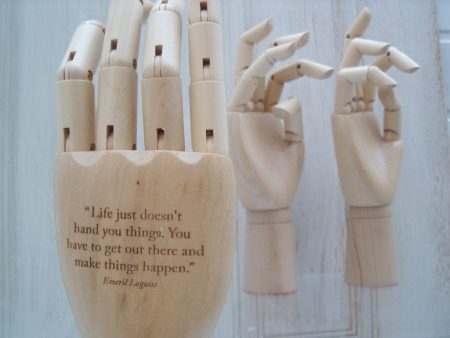 Articulated Wooden Hand With Quotation
